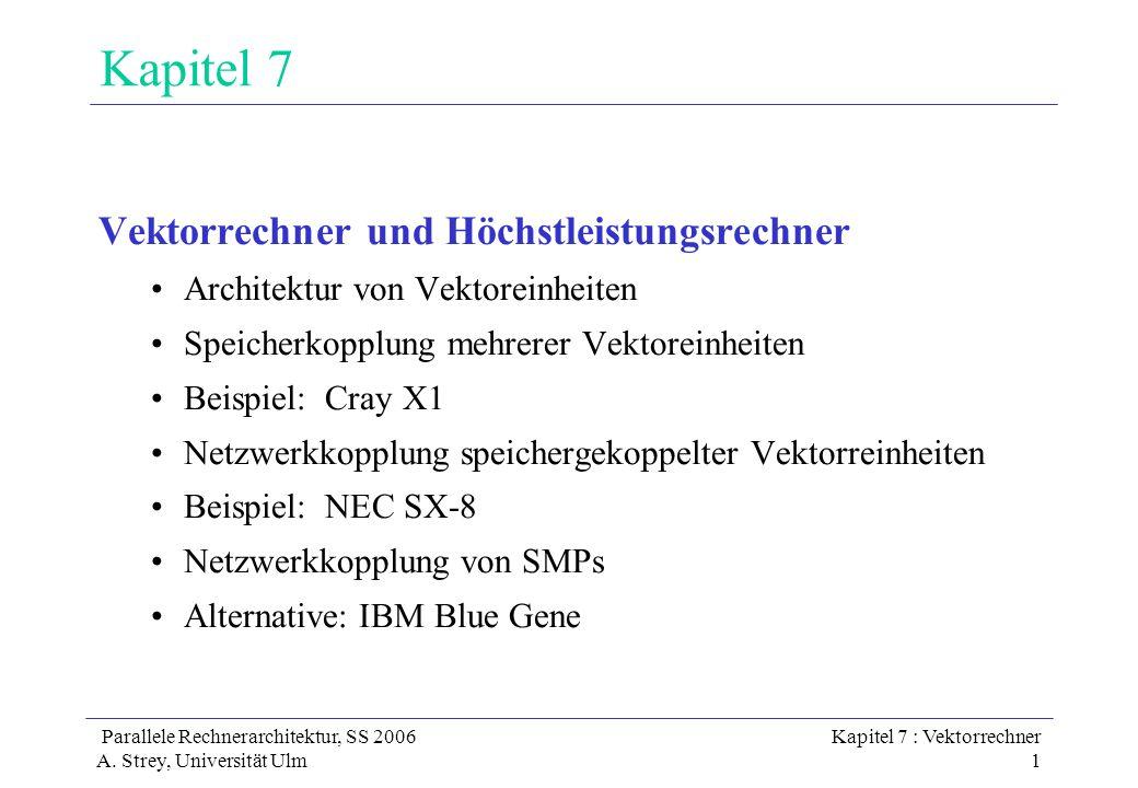 Parallele Rechnerarchitektur, SS 2006 A. Strey, Universität Ulm Kapitel 7 : Vektorrechner 1 Kapitel 7 Vektorrechner und Höchstleistungsrechner Archite