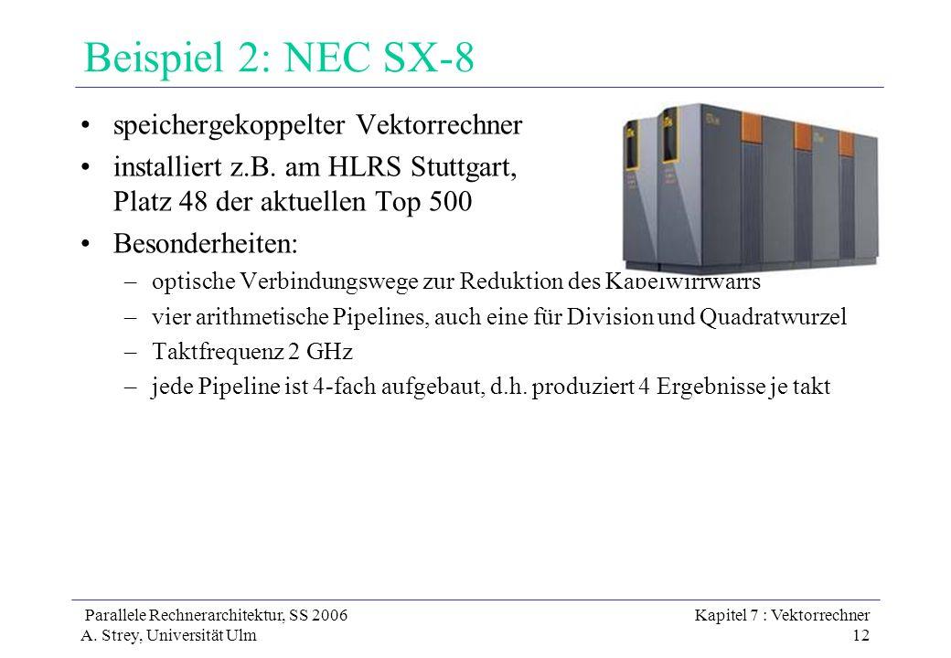 Parallele Rechnerarchitektur, SS 2006 A. Strey, Universität Ulm Kapitel 7 : Vektorrechner 12 Beispiel 2: NEC SX-8 speichergekoppelter Vektorrechner in