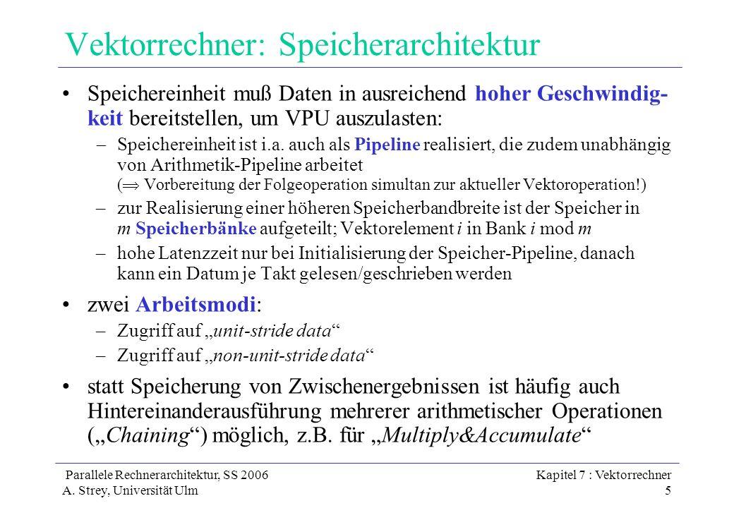 Parallele Rechnerarchitektur, SS 2006 A. Strey, Universität Ulm Kapitel 7 : Vektorrechner 5 Vektorrechner: Speicherarchitektur Speichereinheit muß Dat