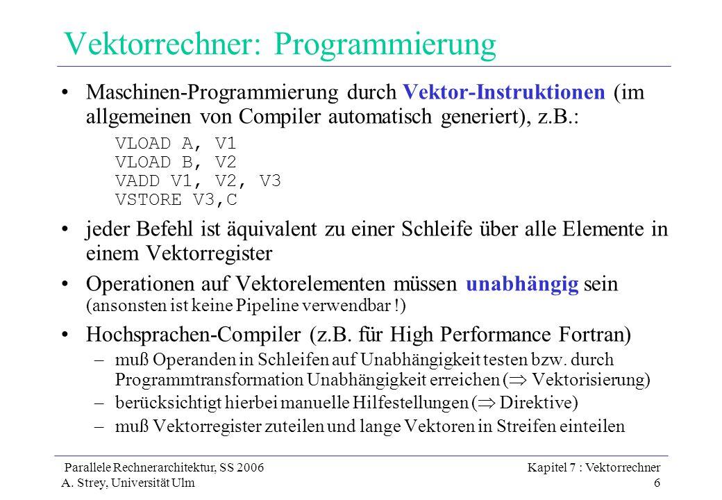 Parallele Rechnerarchitektur, SS 2006 A. Strey, Universität Ulm Kapitel 7 : Vektorrechner 6 Vektorrechner: Programmierung Maschinen-Programmierung dur