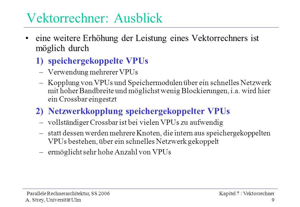 Parallele Rechnerarchitektur, SS 2006 A. Strey, Universität Ulm Kapitel 7 : Vektorrechner 9 Vektorrechner: Ausblick eine weitere Erhöhung der Leistung
