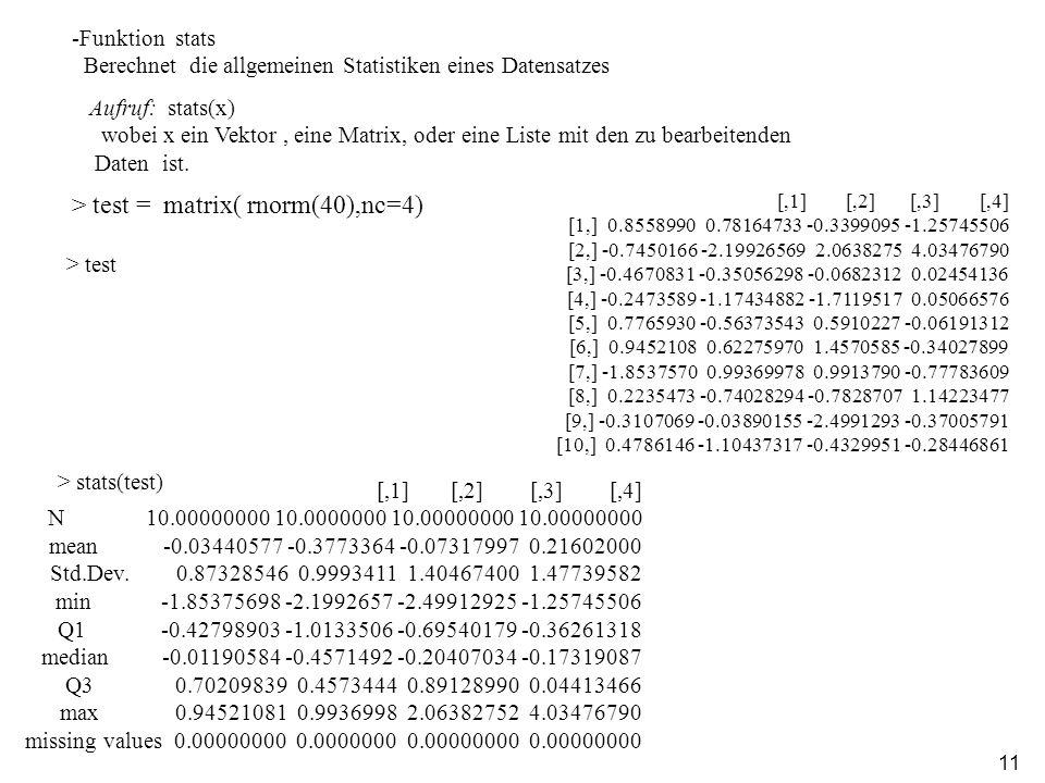 11 -Funktion stats Berechnet die allgemeinen Statistiken eines Datensatzes Aufruf: stats(x) wobei x ein Vektor, eine Matrix, oder eine Liste mit den zu bearbeitenden Daten ist.