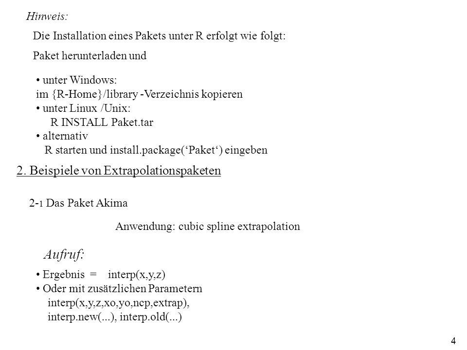 4 Aufruf: 2- 1 Das Paket Akima Anwendung: cubic spline extrapolation Hinweis: Die Installation eines Pakets unter R erfolgt wie folgt: Paket herunterladen und unter Windows: im {R-Home}/library -Verzeichnis kopieren unter Linux /Unix: R INSTALL Paket.tar alternativ R starten und install.package(Paket) eingeben 2.