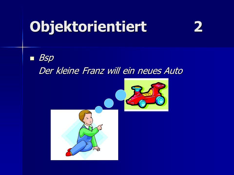 Objektorientiert2 Bsp Bsp Der kleine Franz will ein neues Auto