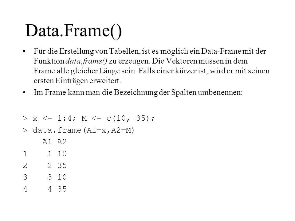 Data.Frame() Für die Erstellung von Tabellen, ist es möglich ein Data-Frame mit der Funktion data.frame() zu erzeugen. Die Vektoren müssen in dem Fram