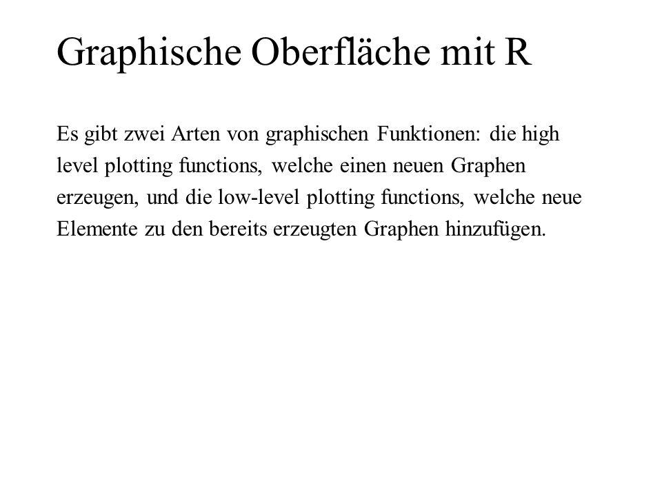 Graphische Oberfläche mit R Es gibt zwei Arten von graphischen Funktionen: die high level plotting functions, welche einen neuen Graphen erzeugen, und