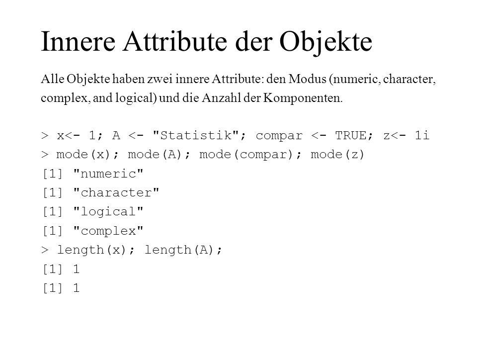 Innere Attribute der Objekte Alle Objekte haben zwei innere Attribute: den Modus (numeric, character, complex, and logical) und die Anzahl der Kompone