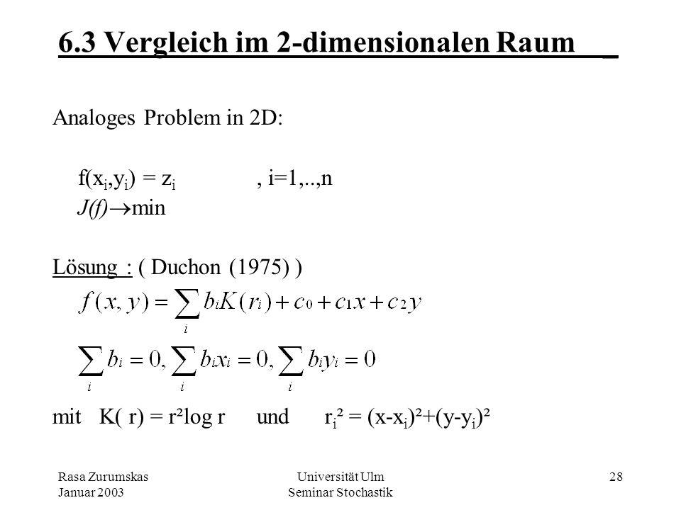 Rasa Zurumskas Januar 2003 Universität Ulm Seminar Stochastik 27 6.2 Vergleich: Spline & Kriging-Schätzer_ Aus dem Kriging-System folgt: z*(x) 2mal st
