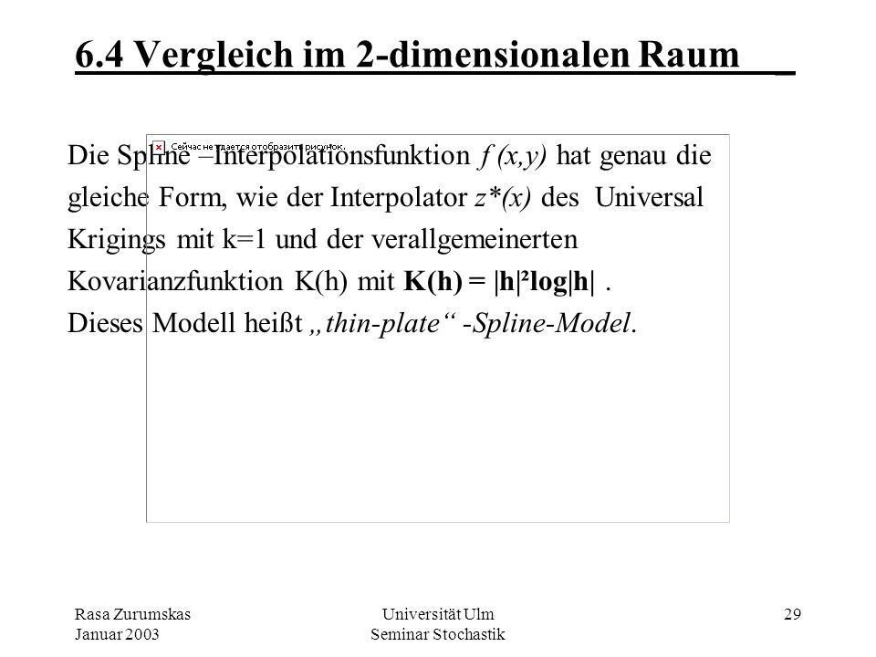 Rasa Zurumskas Januar 2003 Universität Ulm Seminar Stochastik 28 6.3 Vergleich im 2-dimensionalen Raum_ Analoges Problem in 2D: f(x i,y i ) = z i, i=1