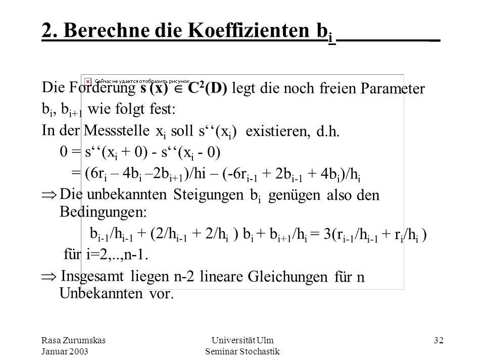 Rasa Zurumskas Januar 2003 Universität Ulm Seminar Stochastik 31 1. Berechne die Koeffizienten b i _ Mit klassischen Hermit-Polynomen als Basisfunktio