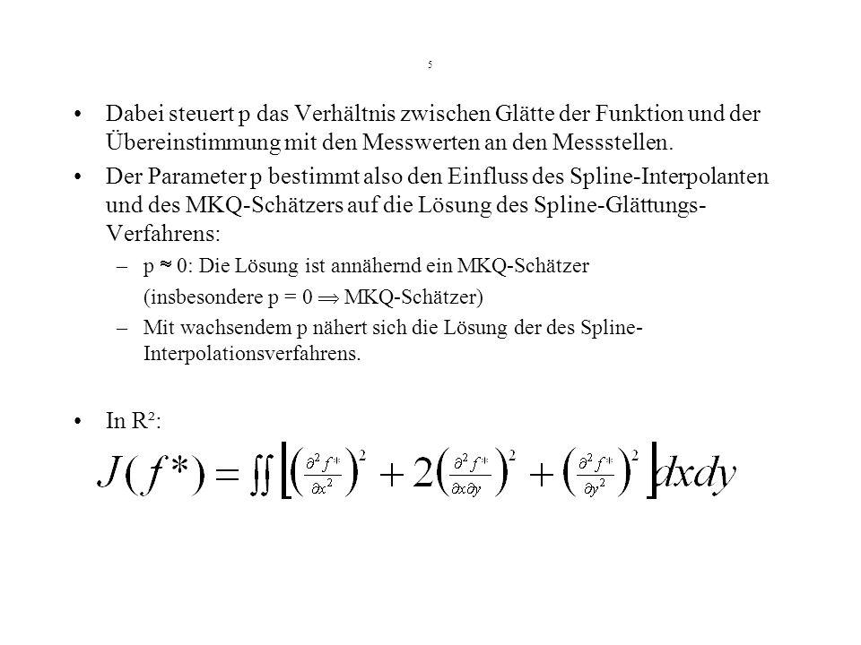 5 Dabei steuert p das Verhältnis zwischen Glätte der Funktion und der Übereinstimmung mit den Messwerten an den Messstellen. Der Parameter p bestimmt