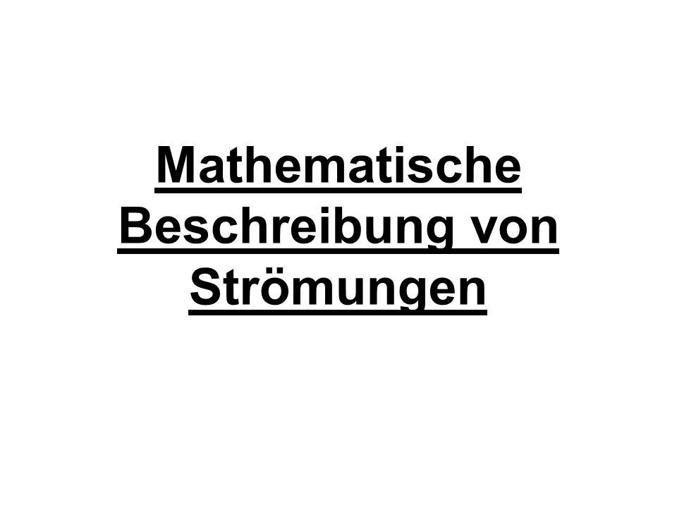 Navier-Stokes-Gleichugen (3-dimensinal) In einem so beschriebenen Strömungsfeld lauten die Navier-Stokes- Gleichungen im 3-dimensionalen Fall (Impulsgleichung) (Kontinuitätsgleichung) Mit Re der Reynoldszahl und g N die Erdbeschleunigung.