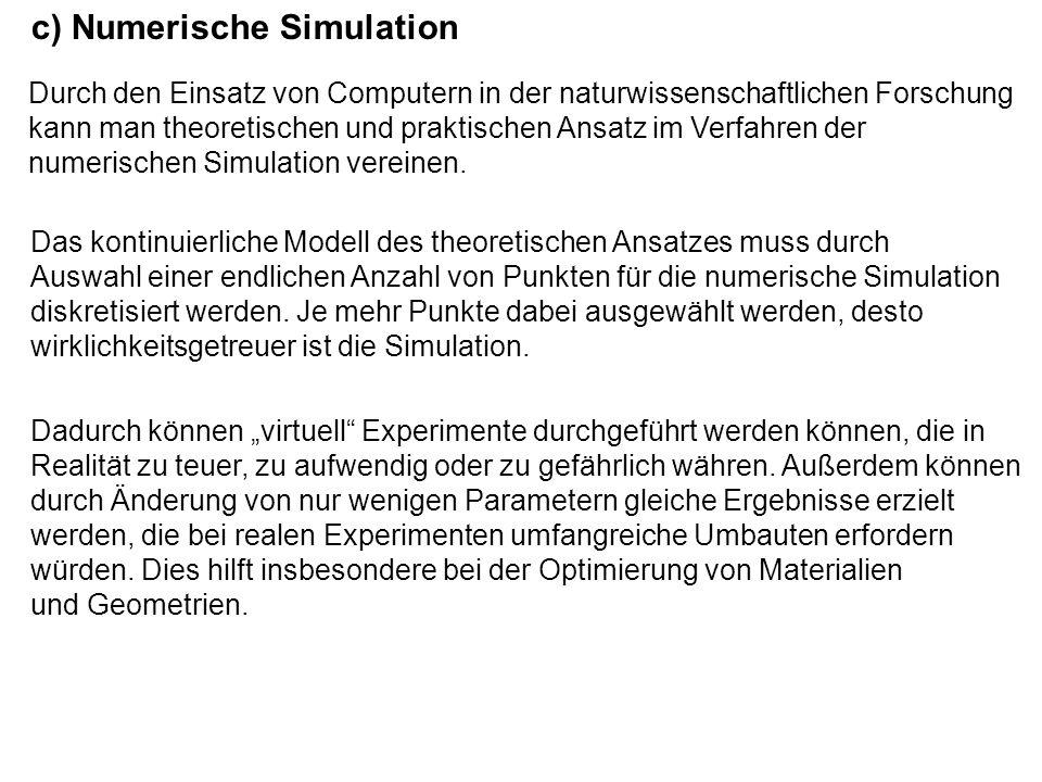 Anforderungen: Mathematisches Modell: Hardware: Lösungsverfahren: Ergebnisse: - Visualisierung der Daten / übersichtliche Darstellung - Überprüfung der Übereinstimmung mit der Realität - schnelle Lösungsverfahren (Mehrgitterverfahren, Multileveltechniken Parallelisierung) - Approximation (Adaptivität, lokale Fehlerschätzer) - hohe Speicherkapazität (Punkteanzahl) - viel Rechenzeit - gute Beschreibung der Realität - lösbar - diskretes Modell approximiert gut das kontinuierliches Modell