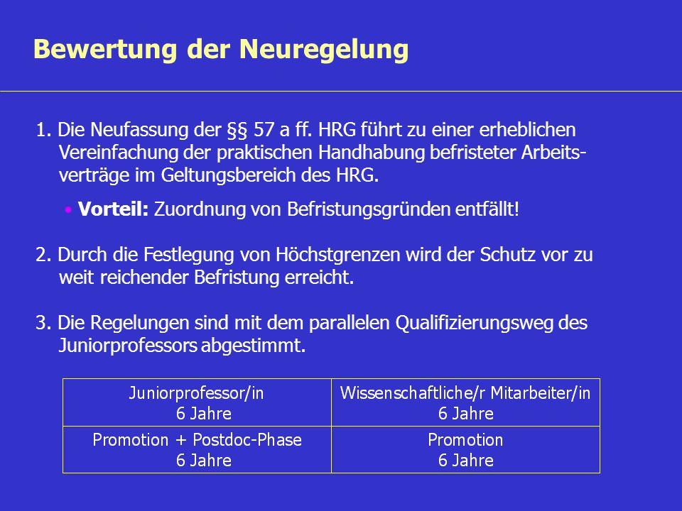 Bewertung der Neuregelung 1. Die Neufassung der §§ 57 a ff. HRG führt zu einer erheblichen Vereinfachung der praktischen Handhabung befristeter Arbeit
