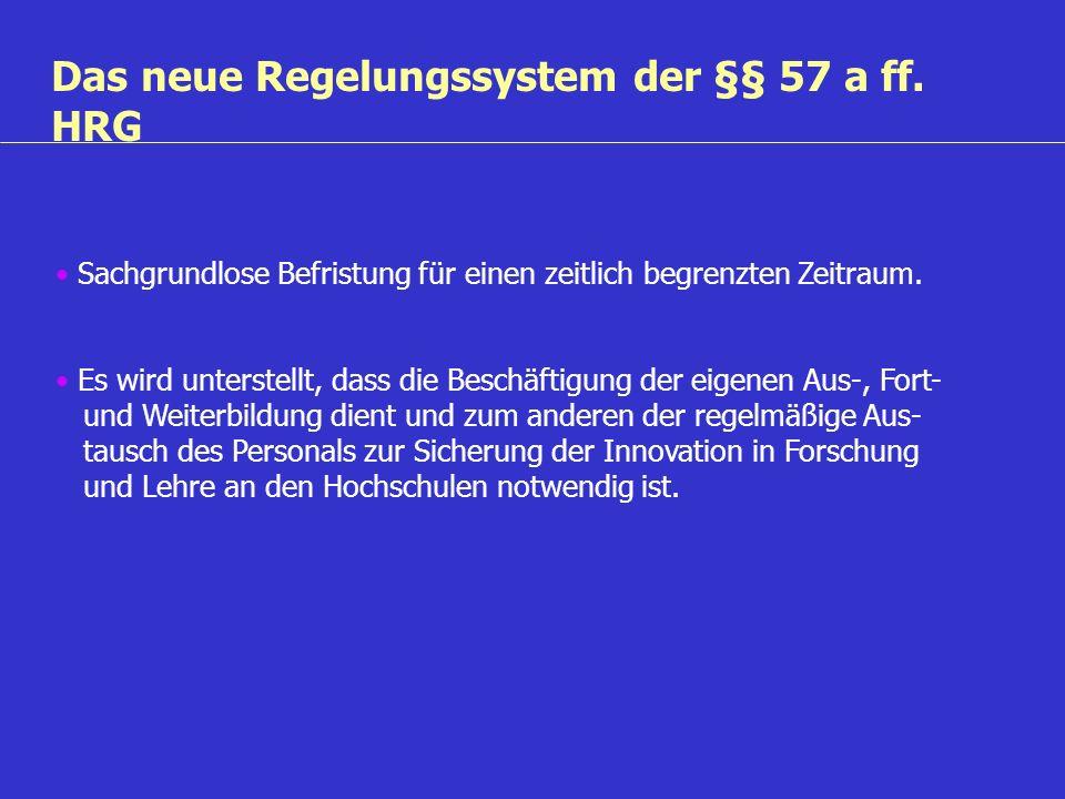 Das neue Regelungssystem der §§ 57 a ff. HRG Sachgrundlose Befristung für einen zeitlich begrenzten Zeitraum. Es wird unterstellt, dass die Beschäftig
