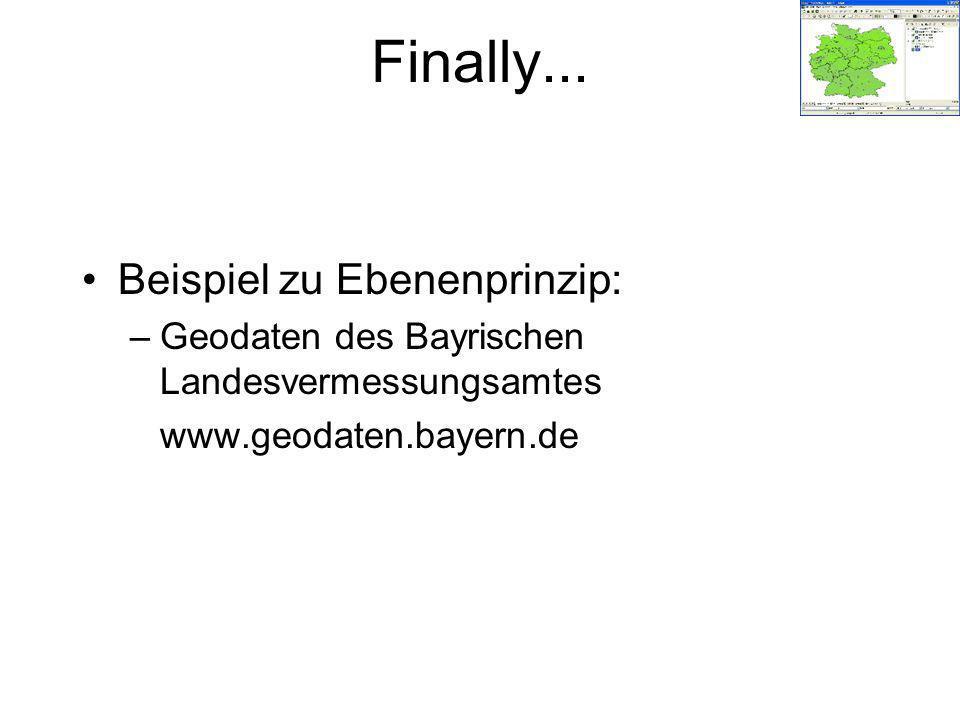 Beispiel zu Ebenenprinzip: –Geodaten des Bayrischen Landesvermessungsamtes www.geodaten.bayern.de Finally...