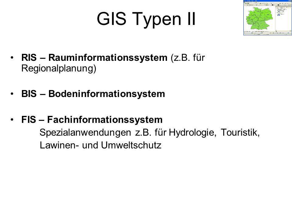RIS – Rauminformationssystem (z.B. für Regionalplanung) BIS – Bodeninformationsystem FIS – Fachinformationssystem Spezialanwendungen z.B. für Hydrolog