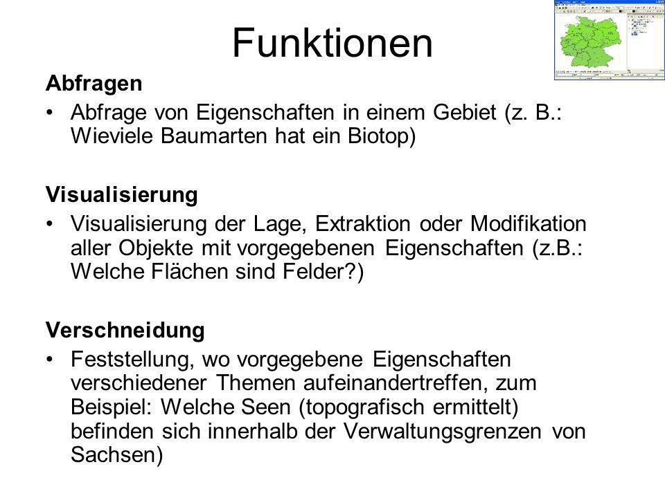 Funktionen Abfragen Abfrage von Eigenschaften in einem Gebiet (z.