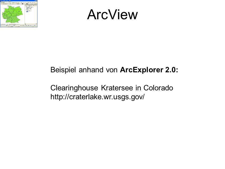 ArcView Beispiel anhand von ArcExplorer 2.0: Clearinghouse Kratersee in Colorado http://craterlake.wr.usgs.gov/