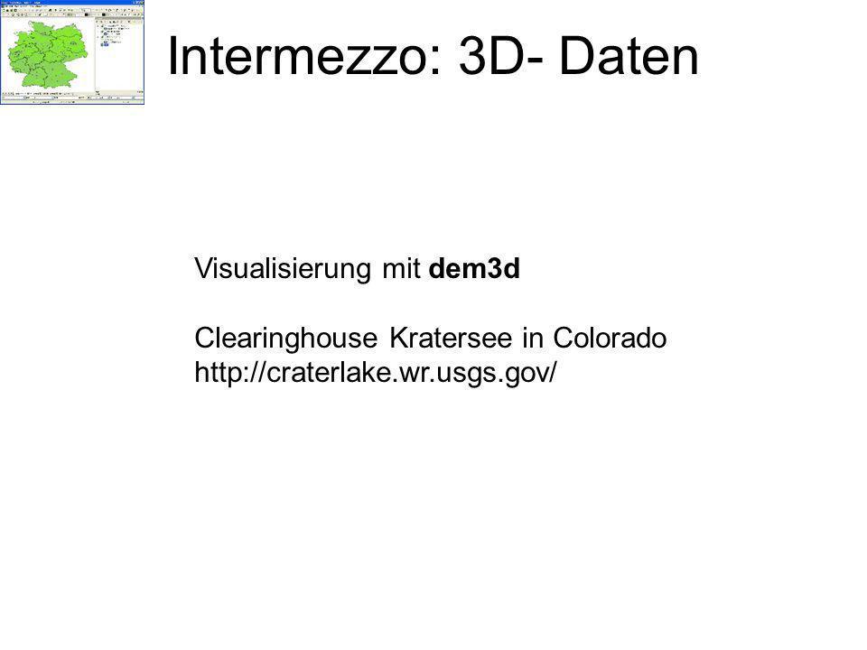 Intermezzo: 3D- Daten Visualisierung mit dem3d Clearinghouse Kratersee in Colorado http://craterlake.wr.usgs.gov/