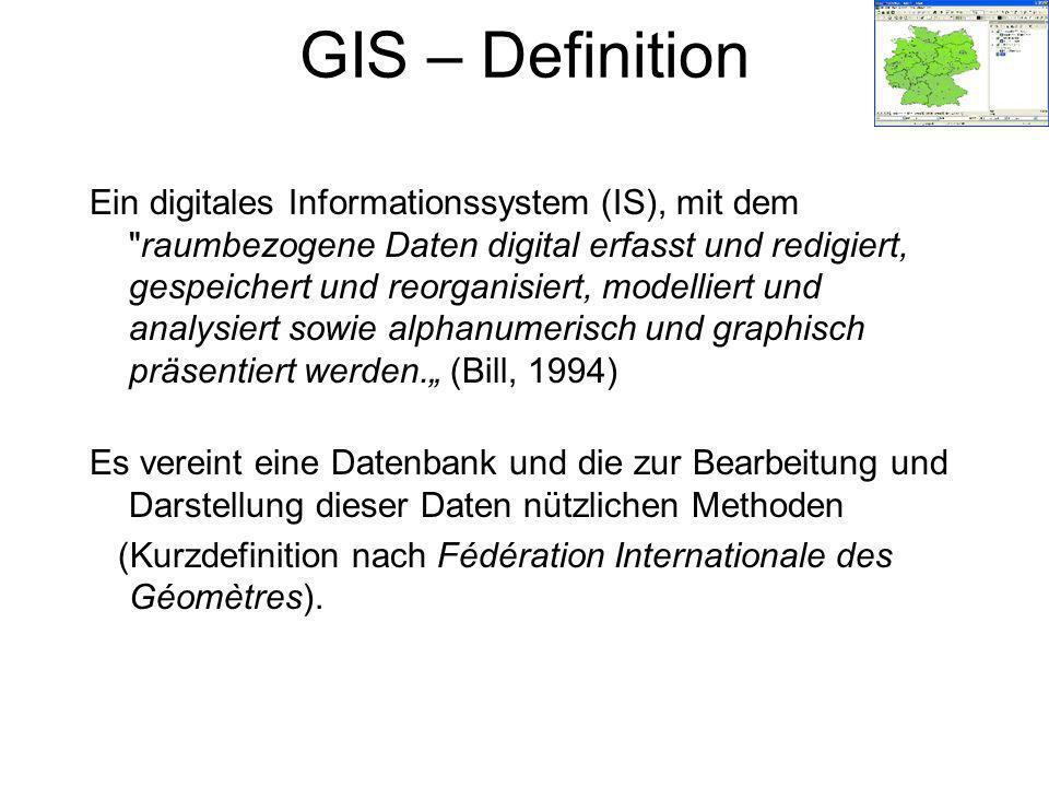 GIS – Definition Ein digitales Informationssystem (IS), mit dem raumbezogene Daten digital erfasst und redigiert, gespeichert und reorganisiert, modelliert und analysiert sowie alphanumerisch und graphisch präsentiert werden.