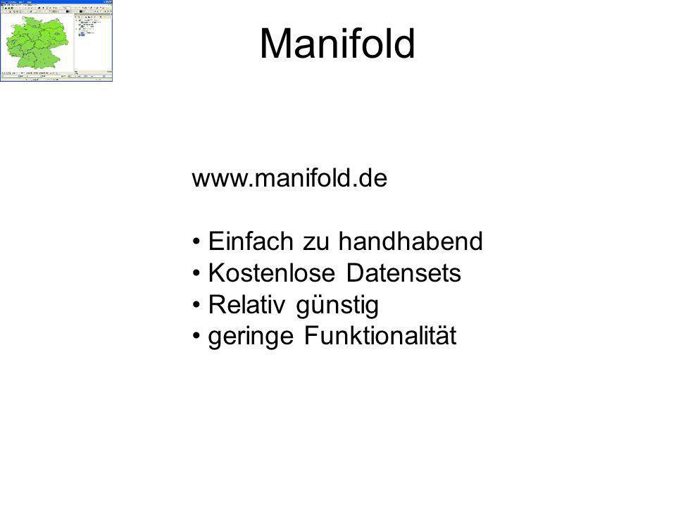 Manifold www.manifold.de Einfach zu handhabend Kostenlose Datensets Relativ günstig geringe Funktionalität