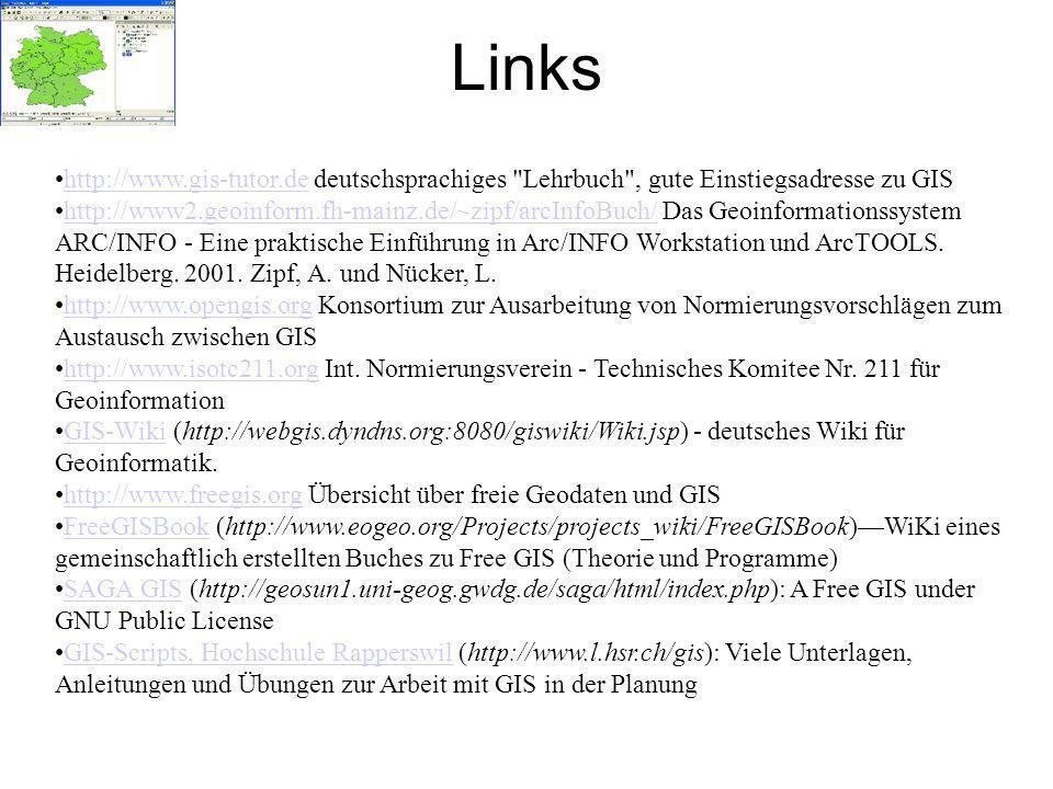 Links http://www.gis-tutor.de deutschsprachiges Lehrbuch , gute Einstiegsadresse zu GIShttp://www.gis-tutor.de http://www2.geoinform.fh-mainz.de/~zipf/arcInfoBuch/ Das Geoinformationssystem ARC/INFO - Eine praktische Einführung in Arc/INFO Workstation und ArcTOOLS.