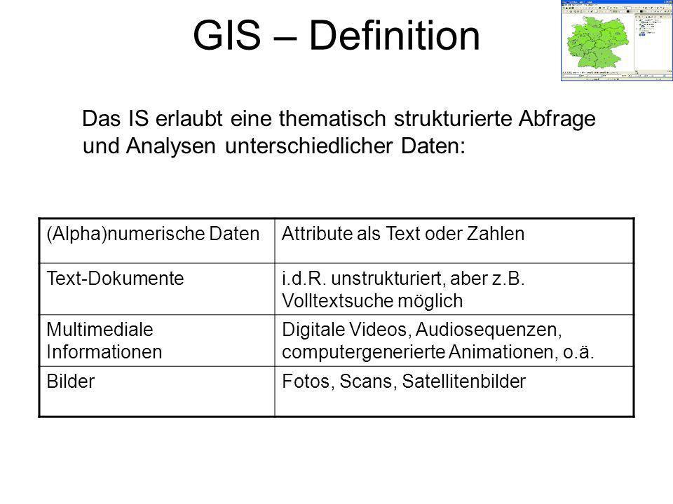 GIS – Definition Das IS erlaubt eine thematisch strukturierte Abfrage und Analysen unterschiedlicher Daten: (Alpha)numerische DatenAttribute als Text