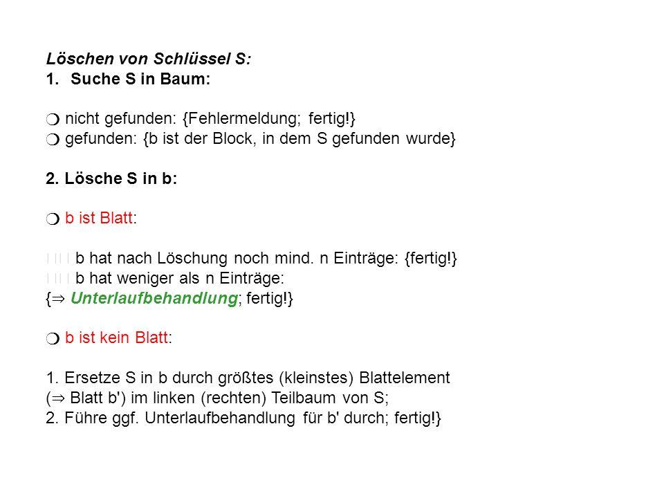 Unterlaufbehandlung: {b ist der Unterlauf-Knoten} b hat einen linken (rechten) Bruder mit genau n Einträgen: { Zusammenfassen; ggf.