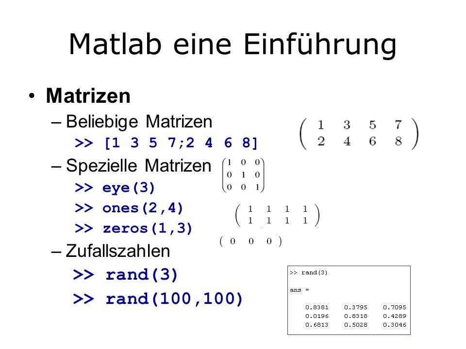 Matlab eine Einführung Matrizen –Beliebige Matrizen >> [1 3 5 7;2 4 6 8] –Spezielle Matrizen >> eye(3) >> ones(2,4) >> zeros(1,3) –Zufallszahlen >> rand(3) >> rand(100,100)
