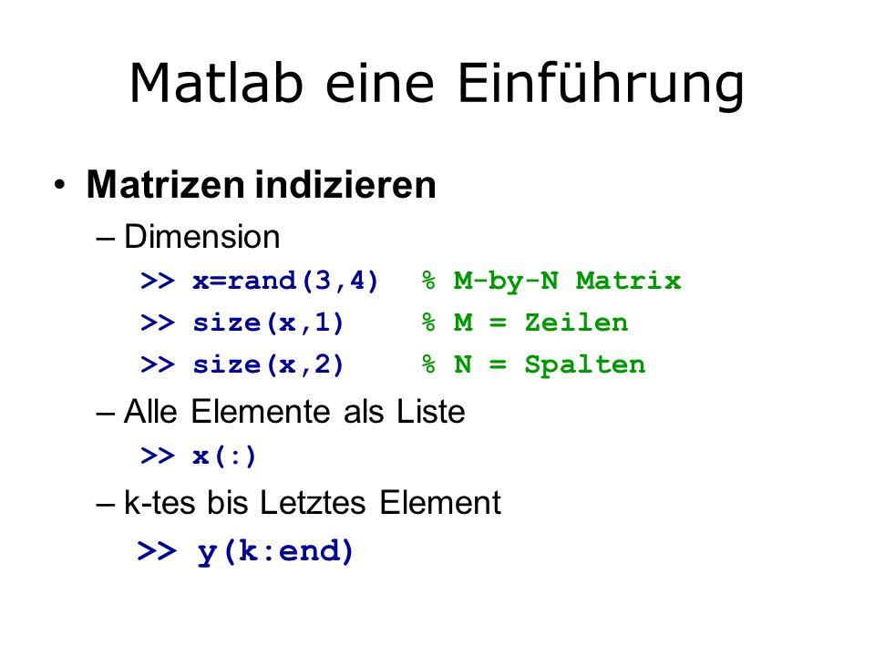 Matlab eine Einführung Matrizen indizieren –Dimension >> x=rand(3,4) % M-by-N Matrix >> size(x,1) % M = Zeilen >> size(x,2) % N = Spalten –Alle Elemente als Liste >> x(:) –k-tes bis Letztes Element >> y(k:end)