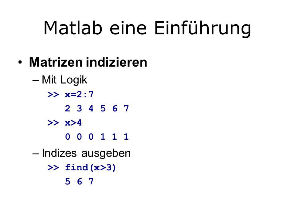 Matlab eine Einführung Matrizen indizieren –Mit Logik >> x=2:7 2 3 4 5 6 7 >> x>4 0 0 0 1 1 1 –Indizes ausgeben >> find(x>3) 5 6 7