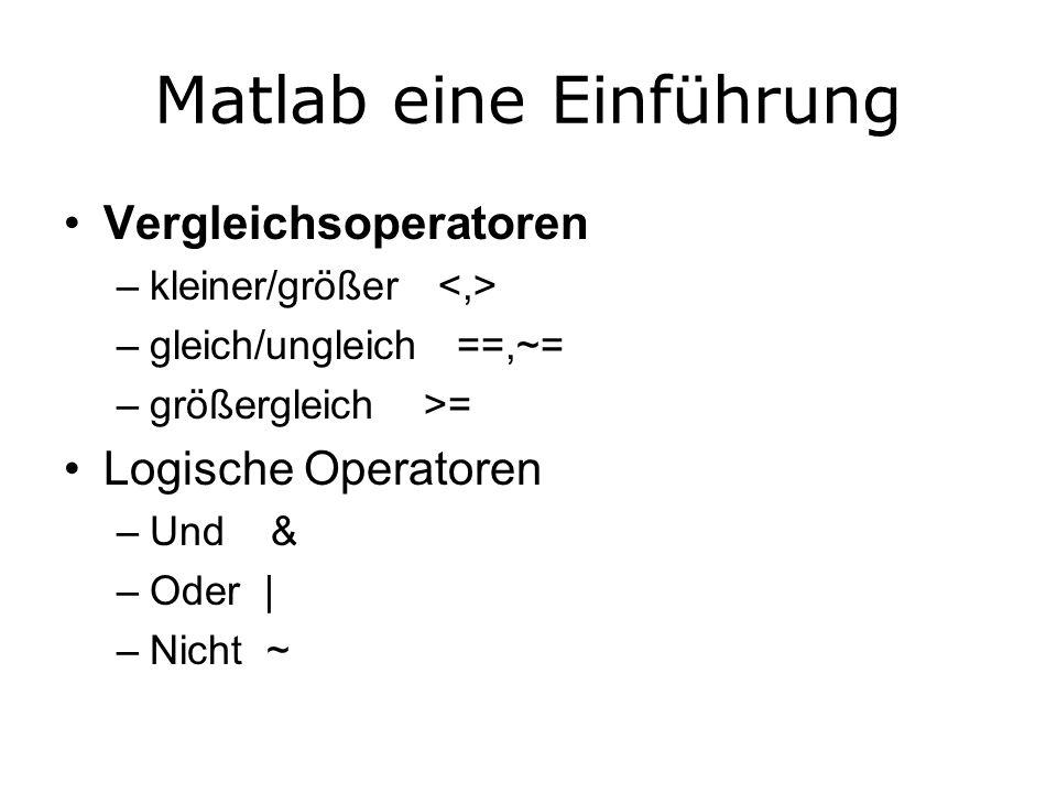 Matlab eine Einführung Vergleichsoperatoren –kleiner/größer –gleich/ungleich ==,~= –größergleich >= Logische Operatoren –Und & –Oder | –Nicht ~