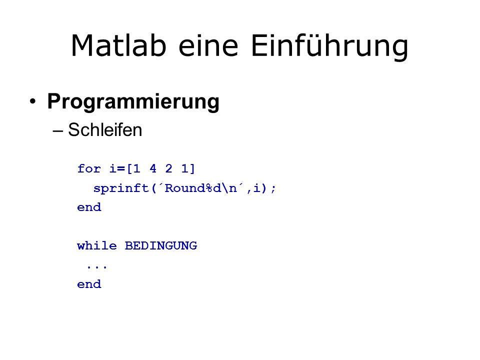 Matlab eine Einführung Programmierung –Schleifen for i=[1 4 2 1] sprinft(´Round%d\n´,i); end while BEDINGUNG...