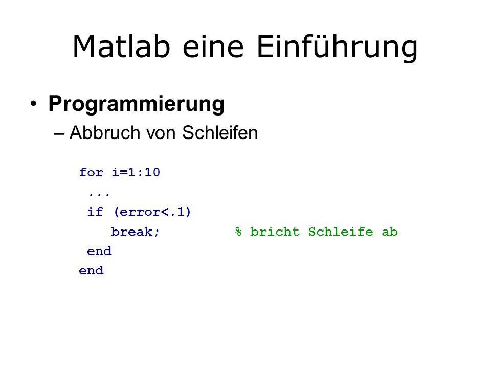 Matlab eine Einführung Programmierung –Abbruch von Schleifen for i=1:10...
