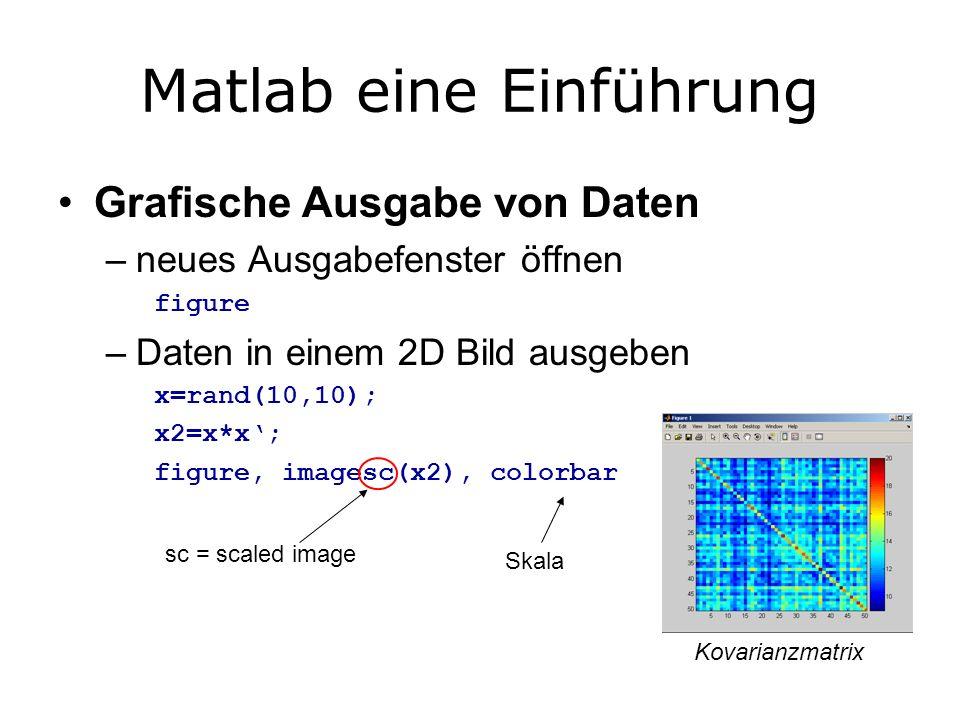 Matlab eine Einführung Grafische Ausgabe von Daten –neues Ausgabefenster öffnen figure –Daten in einem 2D Bild ausgeben x=rand(10,10); x2=x*x; figure, imagesc(x2), colorbar sc = scaled image Skala Kovarianzmatrix