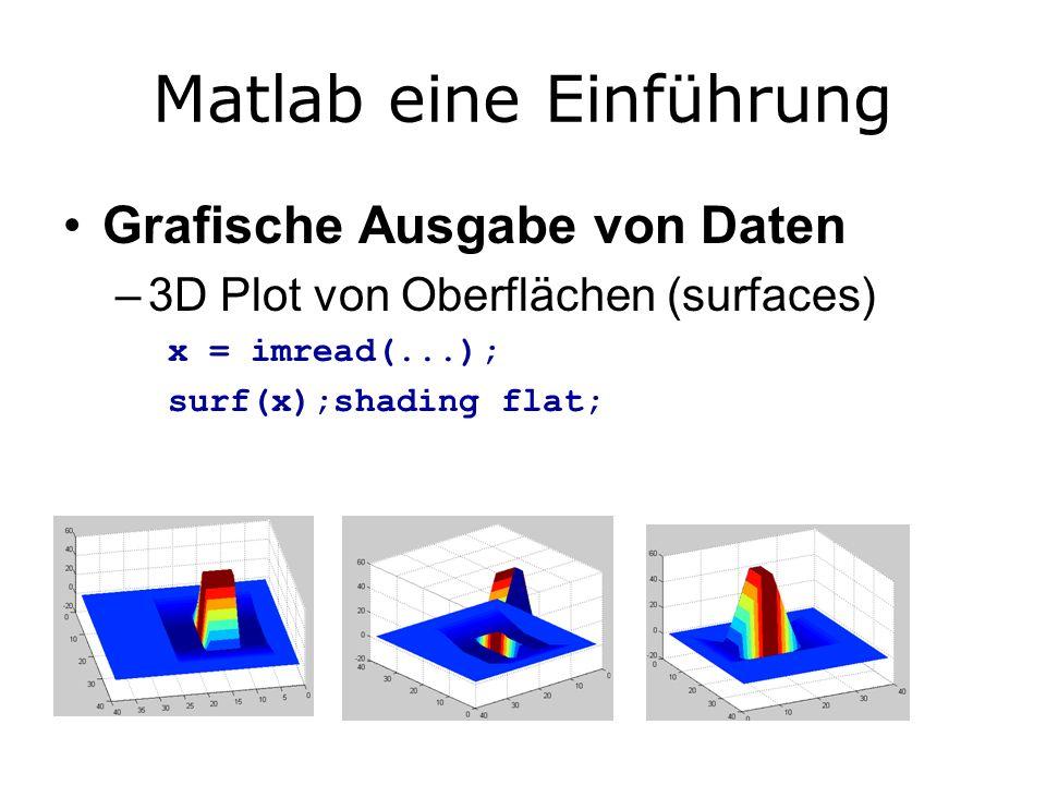 Matlab eine Einführung Grafische Ausgabe von Daten –3D Plot von Oberflächen (surfaces) x = imread(...); surf(x);shading flat;