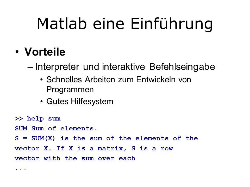 Matlab eine Einführung Vorteile –Interpreter und interaktive Befehlseingabe Schnelles Arbeiten zum Entwickeln von Programmen Gutes Hilfesystem >> help sum SUM Sum of elements.