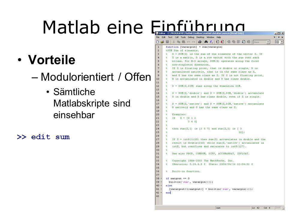 Matlab eine Einführung Vorteile –Modulorientiert / Offen Sämtliche Matlabskripte sind einsehbar >> edit sum