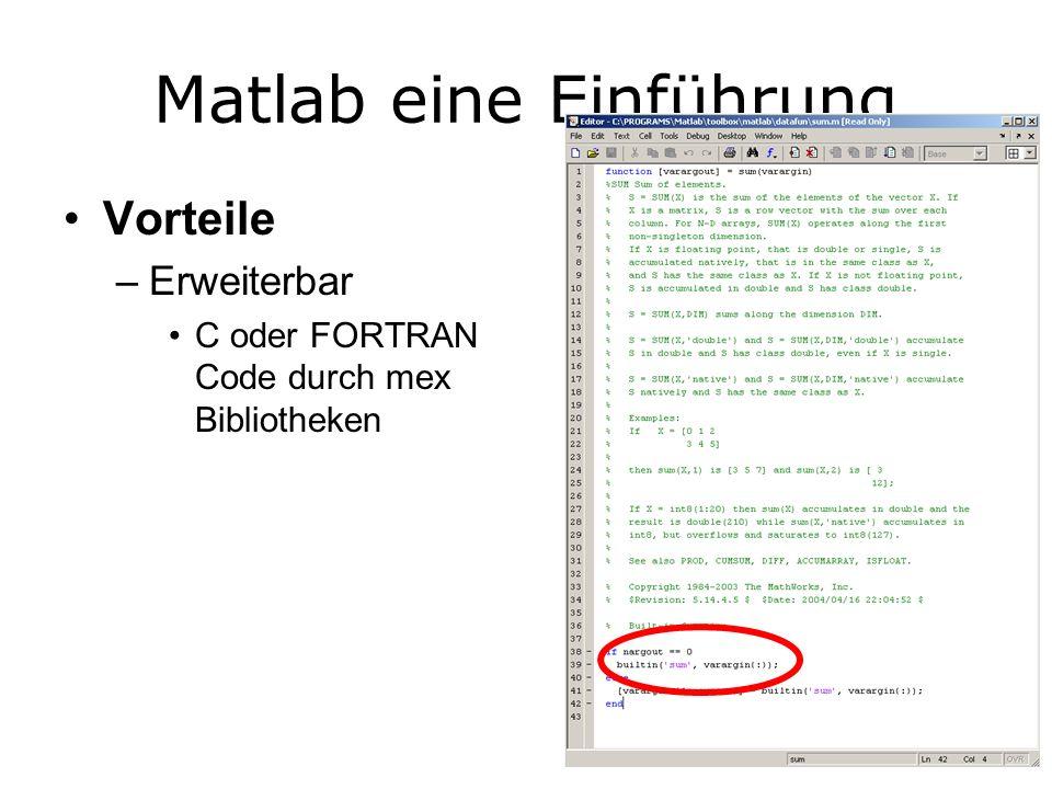 Matlab eine Einführung Vorteile –Erweiterbar C oder FORTRAN Code durch mex Bibliotheken