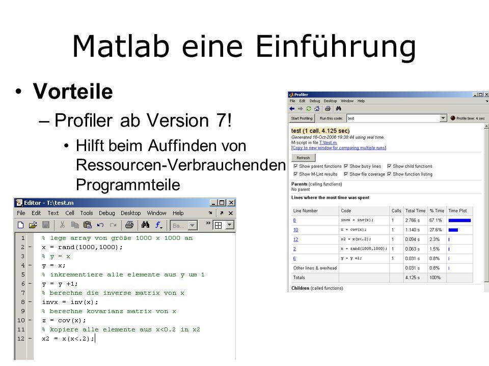 Matlab eine Einführung Vorteile –Profiler ab Version 7.