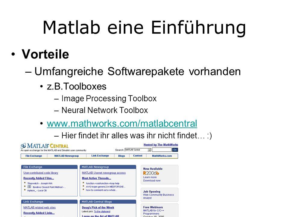 Matlab eine Einführung Vorteile –Umfangreiche Softwarepakete vorhanden z.B.Toolboxes –Image Processing Toolbox –Neural Network Toolbox www.mathworks.com/matlabcentral –Hier findet ihr alles was ihr nicht findet… :)