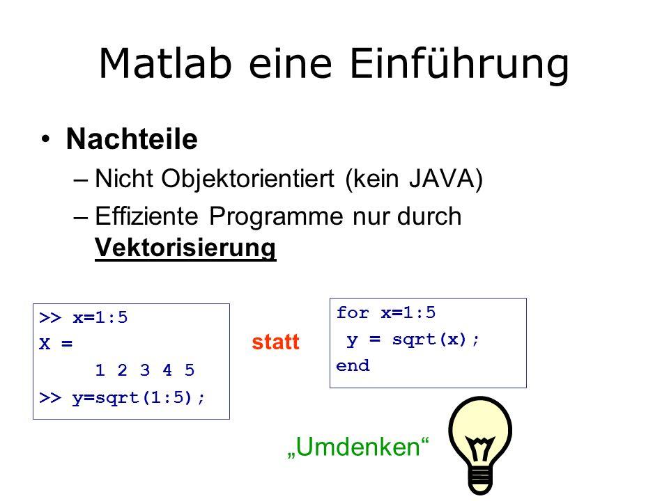 Matlab eine Einführung Nachteile –Nicht Objektorientiert (kein JAVA) –Effiziente Programme nur durch Vektorisierung >> x=1:5 X = 1 2 3 4 5 >> y=sqrt(1:5); for x=1:5 y = sqrt(x); end statt Umdenken