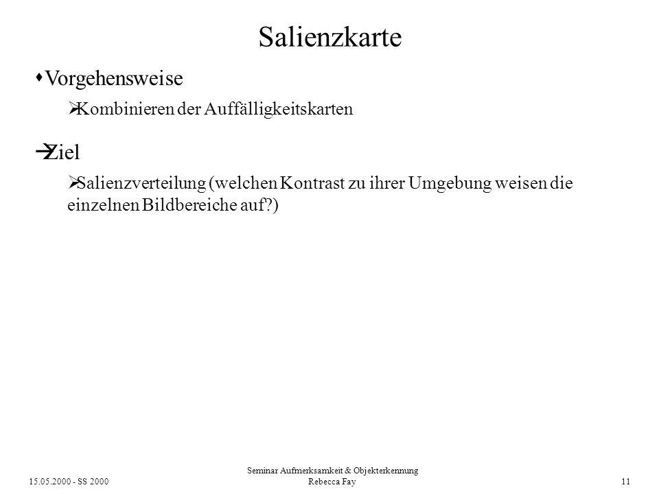 15.05.2000 - SS 2000 Seminar Aufmerksamkeit & Objekterkennung Rebecca Fay 11 Salienzkarte Vorgehensweise Kombinieren der Auffälligkeitskarten Ziel Salienzverteilung (welchen Kontrast zu ihrer Umgebung weisen die einzelnen Bildbereiche auf?)