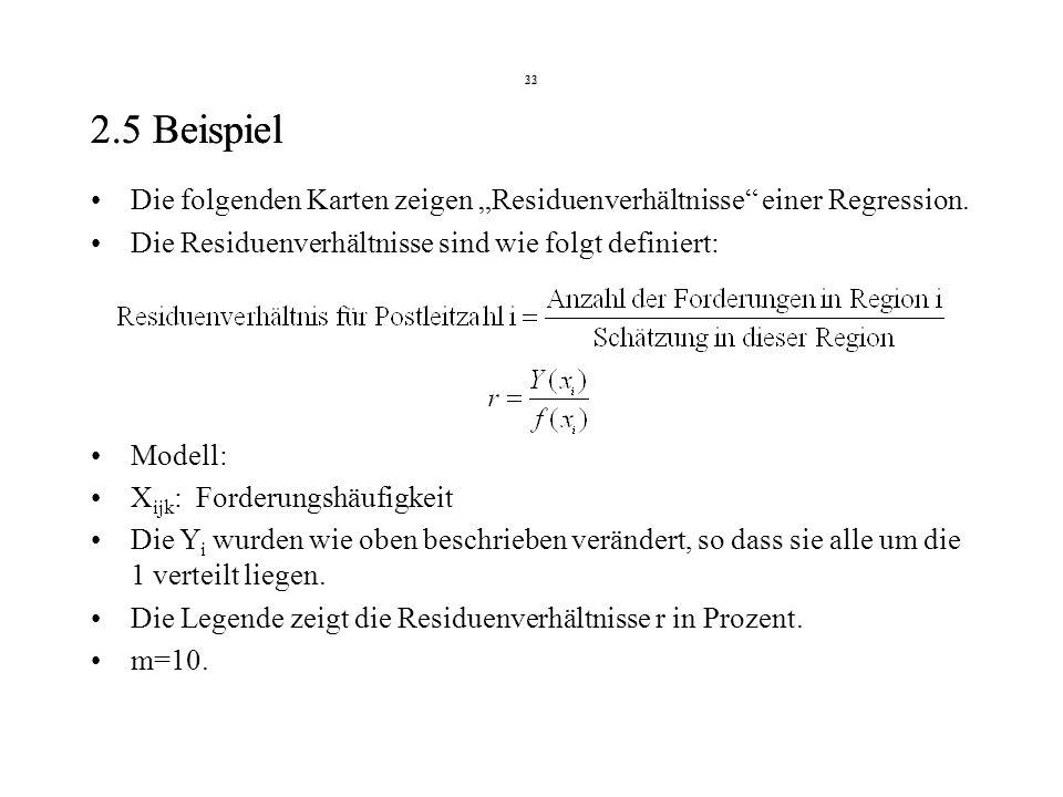 22 2.5 Beispiel 33 2.5 Beispiel Die folgenden Karten zeigen Residuenverhältnisse einer Regression.