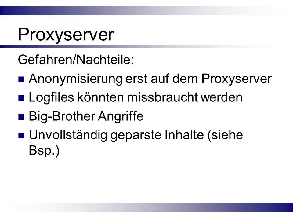 Proxyserver Gefahren/Nachteile: Anonymisierung erst auf dem Proxyserver Logfiles könnten missbraucht werden Big-Brother Angriffe Unvollständig geparst