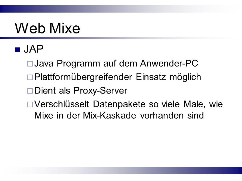 Web Mixe JAP Java Programm auf dem Anwender-PC Plattformübergreifender Einsatz möglich Dient als Proxy-Server Verschlüsselt Datenpakete so viele Male,