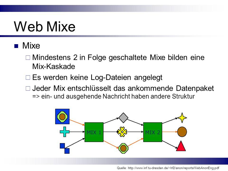 Web Mixe Mixe Mindestens 2 in Folge geschaltete Mixe bilden eine Mix-Kaskade Es werden keine Log-Dateien angelegt Jeder Mix entschlüsselt das ankommen