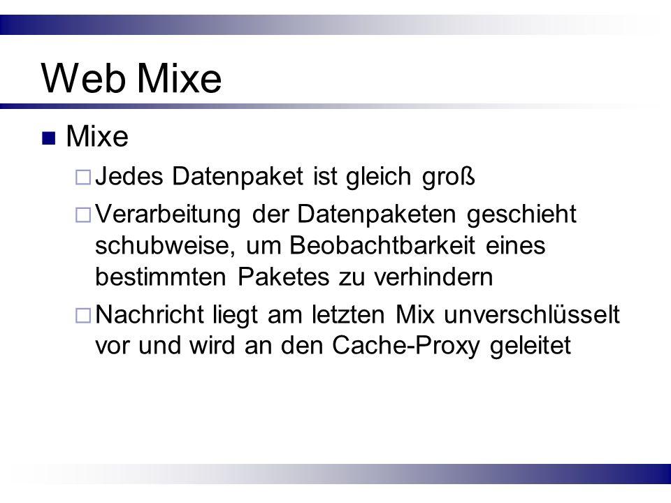 Web Mixe Mixe Jedes Datenpaket ist gleich groß Verarbeitung der Datenpaketen geschieht schubweise, um Beobachtbarkeit eines bestimmten Paketes zu verh