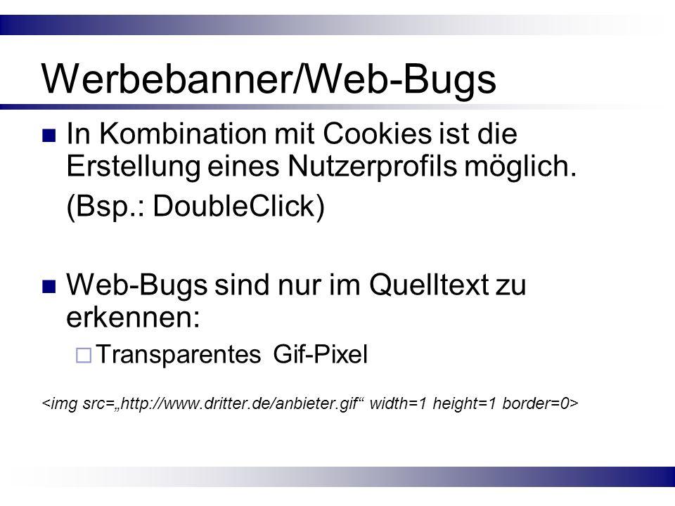 Werbebanner/Web-Bugs In Kombination mit Cookies ist die Erstellung eines Nutzerprofils möglich. (Bsp.: DoubleClick) Web-Bugs sind nur im Quelltext zu